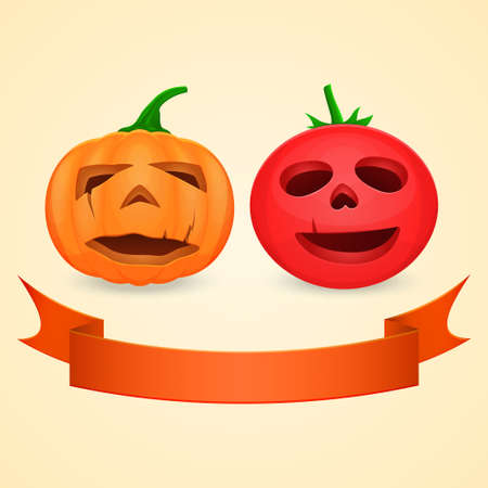 pumpkin tomato: Halloween pumpkin and tomato empty inside with green tails and ribbon
