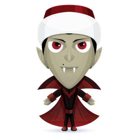 vlad: Smiling Dracula character with a mole near his nose and hat of Santa Claus Illustration