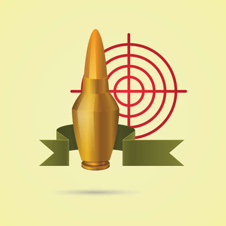 entwined: Icon Bullet, entwined ribbon, against the background of sight Illustration
