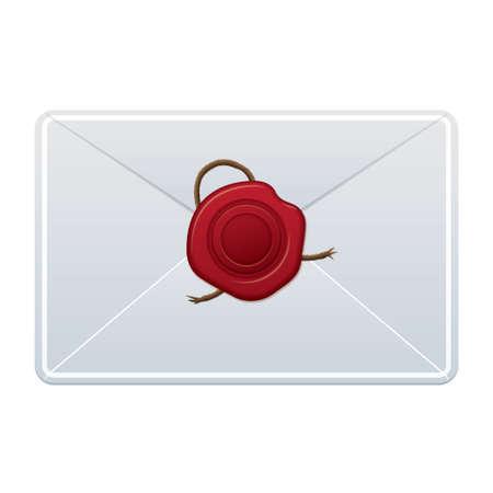 기밀: 중앙에 빨간색 왁 스 인감 흰색 편지 일러스트