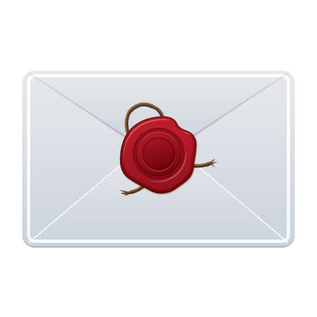 white letter with red wax seal in the center Vector
