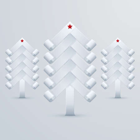 three white paper Christmas tree with a star on top Vector