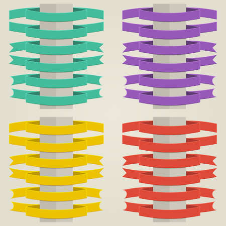 yellow ribbon: set of flat colored ribbons with different edges
