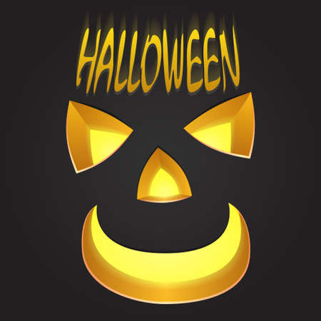 carved pumpkin: carved pumpkin face on dark background and illuminated signs Illustration