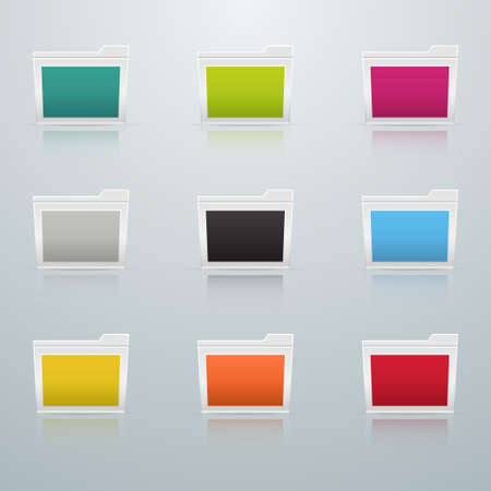 set of multicolored folders with a white border on a light background with reflection Illustration