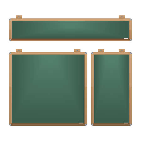 fixtures: set of different sized boards with chalk, iron corners and fixtures Stock Photo