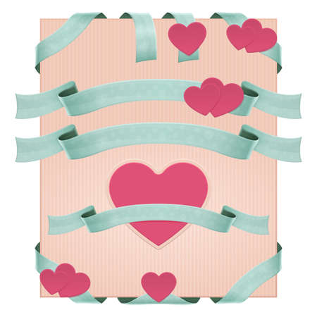 substrate: Set of decorative ribbons with hearts and without on beige striped substrate
