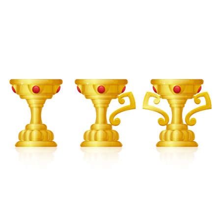 underneath: three golden goblet with precious stones and a reflection underneath on white background