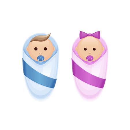 pezones: dos niño y niña con los pezones en un fondo blanco