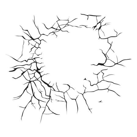 earthquake: many black cracks arranged in a circle on a white background