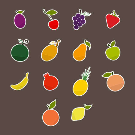 stickers set silhouettes colorful fruit in a flat style on a dark background Vector