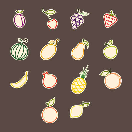 contours colored sticker set fruit in a flat style on a dark background Vector