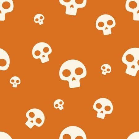 Orange Small Skull Pattern Vector