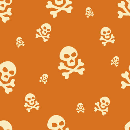 Skull Pattern Orange Vector