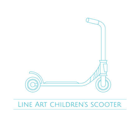 couple having fun: Line Art Childrens Scooter Two