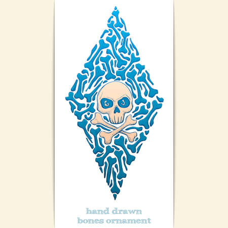 Colored abstract pattern of bones and skull on a white background. Painted by hand and can be used to print Tshirts or any other surface as well as a tattoo.
