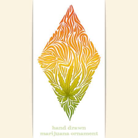 marihuana: Color patrón abstracto sobre un fondo blanco marihuana. Pintado a mano y se puede utilizar para imprimir las camisetas o cualquier otra superficie, así como un tatuaje. Vectores