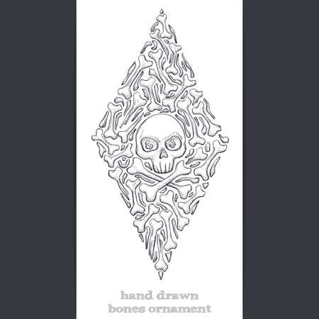 Black abstract pattern of bones and skull on a white background. Painted by hand and can be used to print Tshirts or any other surface as well as a tattoo.