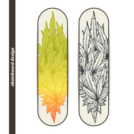hallucination: Design skateboard with a color and black hand drawn pattern of marijuana. Located on the white background Illustration