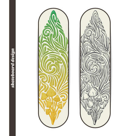 Design skateboard with a color and black hand drawn pattern of hallucinogenic mushrooms. Located on the white background