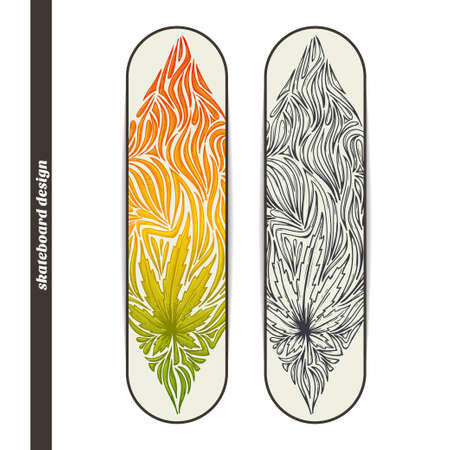 psychoactive: Design skateboard with a color and black hand drawn pattern of marijuana. Located on the white background Illustration