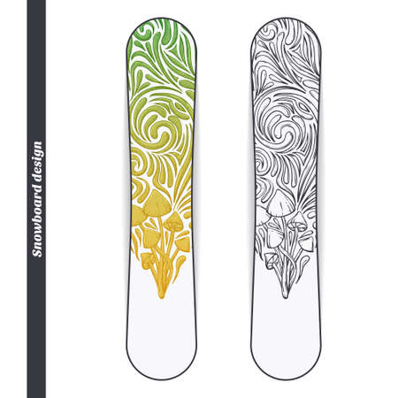 Design snowboard with a color and black hand drawn pattern of hallucinogenic mushrooms. Located on the white background Illustration