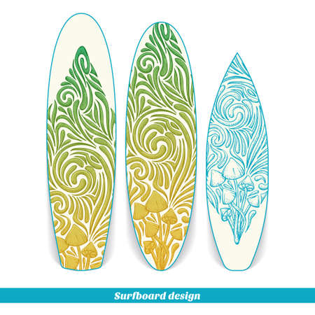 uneatable: Design surfboard with a color and blue hand drawn pattern of hallucinogenic mushrooms. Located on the white background Illustration