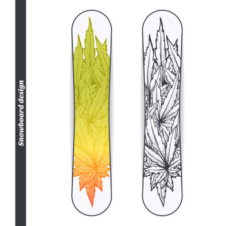 psychoactive: Design snowboard with a color and black hand drawn pattern of marijuana. Located on the white background