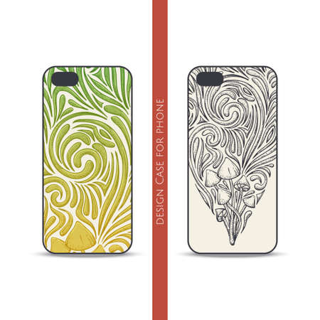 uneatable: Design covers for the phone with a color and black hand drawn pattern of hallucinogenic mushrooms. Located on the white background
