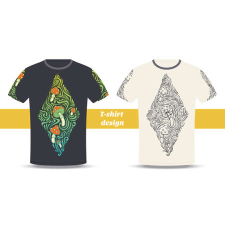 uneatable: Design tshirt with a color and black hand drawn pattern of hallucinogenic mushrooms. Located on the white background