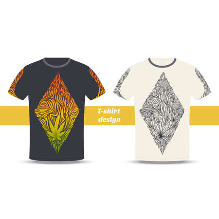 hallucination: Design tshirt with a color and black hand drawn pattern of marijuana. Located on the white background