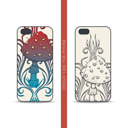 Design covers for the phone with a color and black hand drawn pattern of hallucinogenic mushrooms. Located on the white background