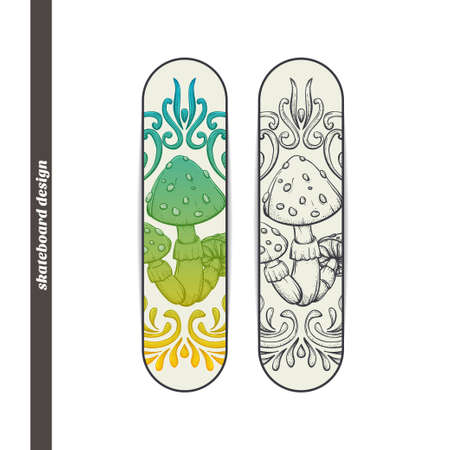 dope: Design skateboard with a color and black hand drawn pattern of hallucinogenic mushrooms. Located on the white background
