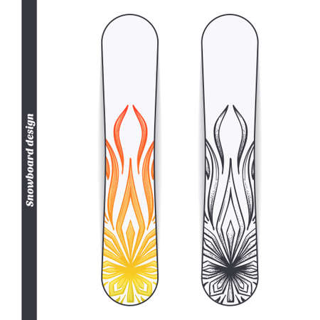 mano negra: Design snowboard with a color and black hand drawn pattern of marijuana. Located on the white background