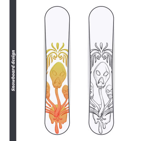 uneatable: Design snowboard with a color and black hand drawn pattern of hallucinogenic mushrooms. Located on the white background Illustration