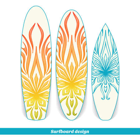 psychoactive: Design surfboard with a color and blue hand drawn pattern of marijuana. Located on the white background Illustration