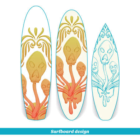 Design surfboard with a color and blue hand drawn pattern of hallucinogenic mushrooms. Located on the white background Illustration