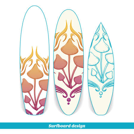 hallucinogenic: Design surfboard with a color and blue hand drawn pattern of hallucinogenic mushrooms. Located on the white background Illustration