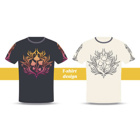 Design tshirt with a color and black hand drawn pattern of hallucinogenic mushrooms. Located on the white background