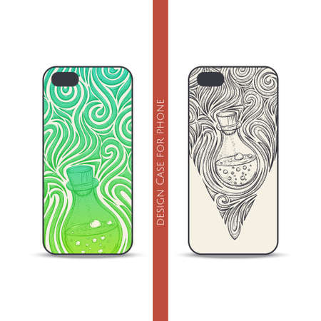 alchemical: Design covers for the phone with a color and black hand drawn pattern of alchemical jar. Located on the white background