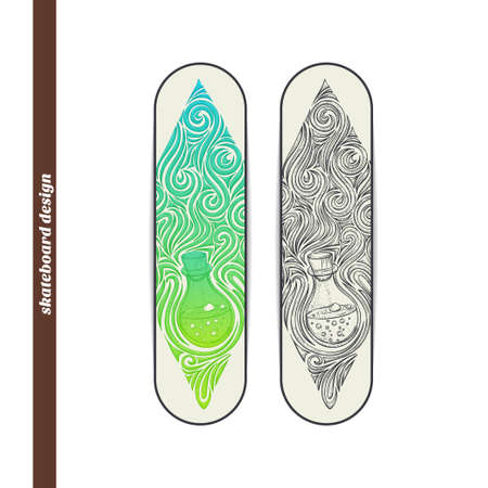 alchemical: Design skateboard with a color and black hand drawn pattern of alchemical jar. Located on the white background