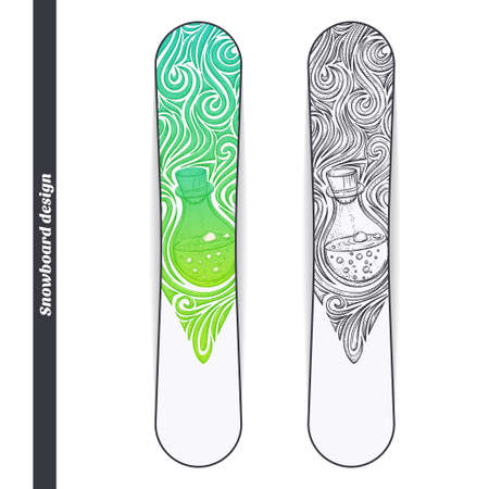 alchemical: Design snowboard with a color and black hand drawn pattern of alchemical jar. Located on the white background