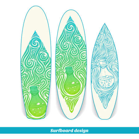 alchemical: Design surfboard with a color and blue hand drawn pattern of alchemical jar. Located on the white background Illustration