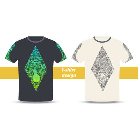 alchemical: Design tshirt with a color and black hand drawn pattern of alchemical jar. Located on the white background