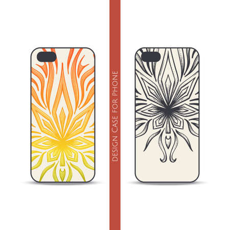 psychoactive: Design covers for the phone with a color and black hand drawn pattern of marijuana. Located on the white background Illustration