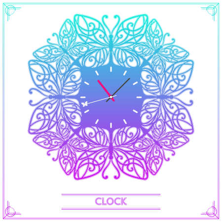 second hand: Watch from colored decorative butterflies with patterns on the wings and a butterfly on the second hand. on a white background Illustration