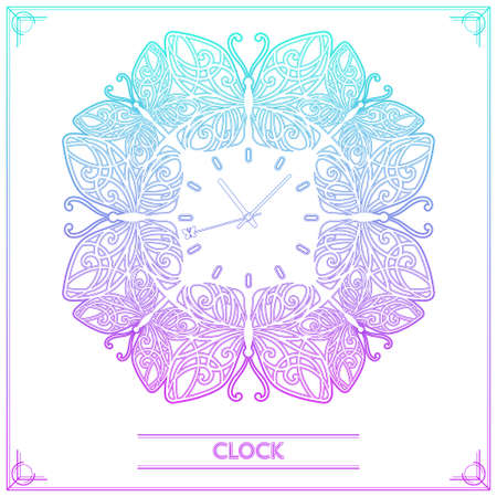second hand: Watch from the line of decorative butterflies with patterns on the wings and a butterfly on the second hand. on a white background