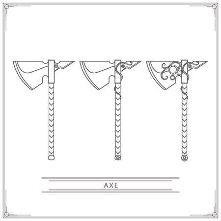 precious stones: Set of fantasy game ax inlaid with precious stones, in three variants of a white background. Illustration