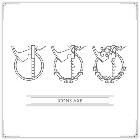 precious stones: Set of game icons fantasy axes inlaid with precious stones, in three variants of a white background.