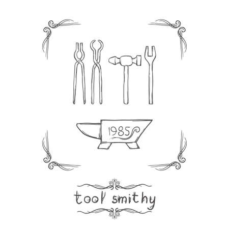 anvil: a set of blacksmiths tools and anvil on a white background